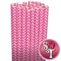 Chevron Paper Straws: Pink Website: pinkchevron favor bags,green damask liners,orange striped straws
