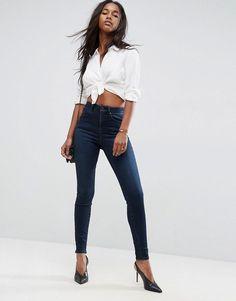 ASOS SCULPT ME High Waisted Premium Jeans in Vivienne Dark Wash - Blue