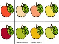 Print up two pages of these beautiful  apples and let children play a color  matching game.  You can set up a  permenant version by turning it into a  File Folder Game and laminating it to  make it more sturdy.