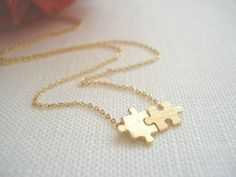 Gold puzzle necklace...dainty minimalist, everyday simple jewelry, birthday, sorority, wedding, bridesmaid gift
