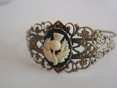Outlander Scottish Thistle Cameo Filigree Antique Bronze Outlander Inspired Cuff Bracelet