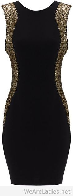 Amazing black dress with golden glitter