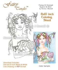 Coloring Sheet by Norma J Burnell: http://www.etsy.com/listing/179376560/be-mine-fairy-tangles-coloring-sheet?ref=shop_home_active_5