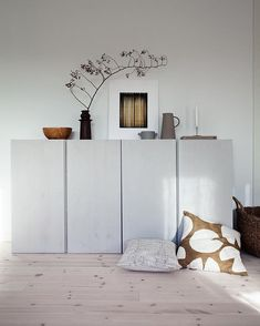 Home Decorating Ideas Modern Living room sideboard cabinet storage Ikea Ivar Hack lacquered light gray white deco . - Wohnzimmer Sideboard Schrank Stauraum Ikea Ivar Hack lackiert hellgrau weiß Dek… Home Decorating - Living Room Grey, Living Room Modern, Home And Living, Living Room Designs, Living Room Furniture, Living Room Decor, Decor Room, Living Area, Ikea Ivar Cabinet