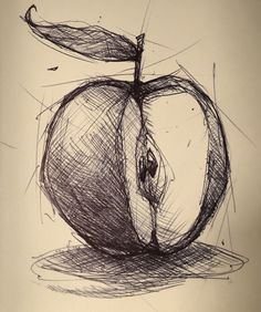 Pencil Art Drawings, Art Drawings Sketches, Easy Drawings, Apple Sketch, Fruit Sketch, Pencil Shading Techniques, Kunst Portfolio, Stylo Art, Drawing Apple