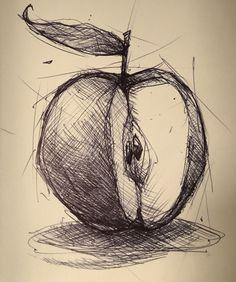 #apple #sketch #sketchbook #doodle #drawing #dailysketch #dailydoodle #dailydrawing #pen #ink #inksketch #moleskin #mikephillipsart 146/365 #sketchy #fineart #rough #stilllife  Cool Art Drawings, Pencil Art Drawings, Art Drawings Sketches, Drawing Ideas, Apple Sketch, Fruit Sketch, Kunst Portfolio, Pencil Shading Techniques, Drawing Apple
