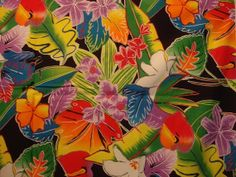 Tropical Flower Print Fabric | Tropical Floral Print Fabric in bold wild vibrant colors 1 yard from ...