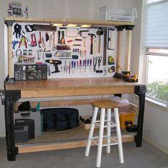Adjustable Custom Workbench Storage Wooden Shelf Kit Garage Shop Workshop Table
