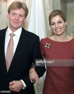 Dutch Crownprince Willem Alexander and Maxima Zorregiueta pose prior to the announcement by Queen Beatrix of the engagement of the crownprince and Argentinian Maxima at the royal palace Noordeinde in...