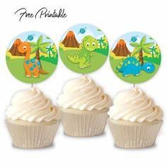 Dinosaur Birthday Party Printable Stickers Free Download Dinosaur Cupcake Toppers, Unicorn Cupcakes Toppers, Cupcake Toppers Free, Diy Unicorn Birthday Party, Birthday Fun, Party Printables, Free Printables, Printable Stickers, Pastel Watercolor