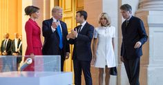 "President Trump told the wife of President Emmanuel Macron that she was ""beautiful"" shortly after arriving for an official visit."