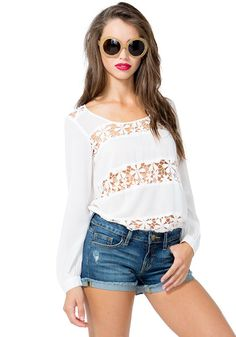 White Long Sleeve Hollow Lace Blouse $14.99