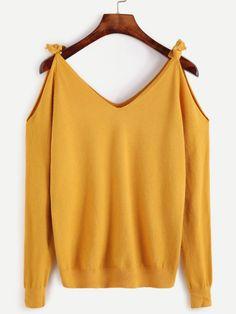 Jersey con hombros al aire - amarillo