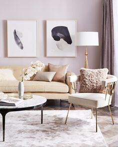 Lovely mauve and light-filled living room space from One Kings Lane