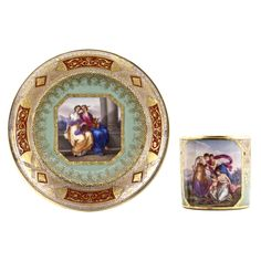 Fine porcelain Vienna tea cup and saucer, Niedermayer, 1808, neoclassical scene with nymphs