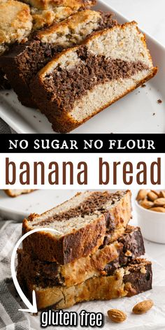 The best Sugar Free Banana Bread recipe you'll ever taste! This low carb banana bread is moist and sweet with a hint of chocolate. With no gluten or added sugar, this is a bread everyone can enjoy! Sugar Free Banana Bread, Flours Banana Bread, Chocolate Banana Bread, Best Banana Bread, Banana Bread Recipes, Almond Recipes, Chocolate Flavors, Baking Recipes, Flour Recipes