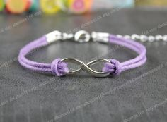 Infinity Braceletsilver karma braceletpurple rope by luckfashion, $2.58