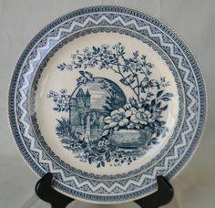 Wedgwood Victorian Aesthetic Teal Blue Transferware  Plate Birds on a Branch Vase of Flowers Moonlit Castle, via Etsy.