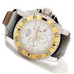 Invicta Reserve Mens Excursion Elegant Swiss Quartz Chronograph Leather Strap Watch