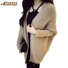Fashion Autumn Winter Mohair Cardigan long style plus size Women Sweater Bat Sleeve Loose Knitting