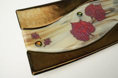 Fused Glass Plate Home Decor Earth Tones Leaves by ModMixArt