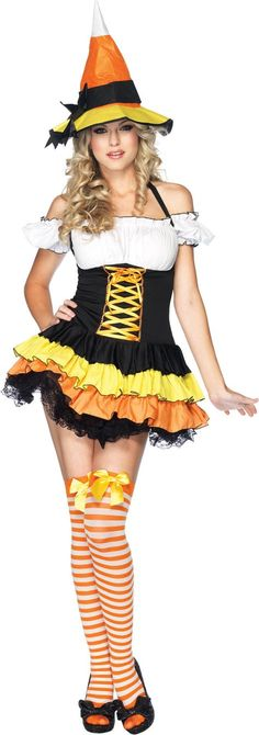 Candy Corn Witch Costume Adult - Party City
