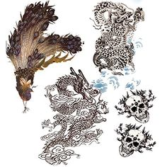 EVTECH(TM) 4 Style New Design 3D Temporary Tattoos Waterproof NightClub Transfer Tattoos Fashion Animal Coccinella Chinese Dragon Skull Peafowl Peacock Body Art Stickers. Quantity: 4 Pcs/Pack.Style randomly sent. Durability Water-proof Stylish Personality. Features :For use in skin, mobile phones, pottery, metal, glass, etc.You also can stick it in the neck, arm, or waist, cover scars. Safe and non-toxic.Top Quality and 100% Brand New. Pattern Shows as Picture.