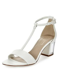 Leather Clear Heel T-Bar Sandals with Insolia® Clothing