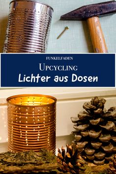 Instructions - make upcycling lights from tin cans yourself - DIY Simple tutorial for canned lights for Christmas. Upcycling Christmas ideas for sustainable crafting / Free DIY Christma Diy Kids Furniture, Recycled Furniture, Amazing Gardens, Beautiful Gardens, Diy Simple, Craft Free, Can Lights, Funny Tattoos, Diy Weihnachten