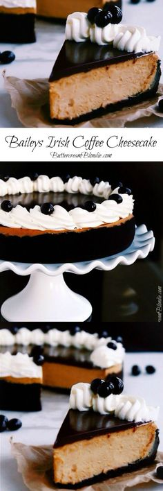 Irish Coffee Cheesecake - This decadent #cheesecake filled with #Baileys and topped with Irish whiskey ganache is the ultimate Saint Patrick's Day dessert!   http://ButtercreamBlondie.com