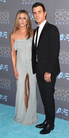 Critics' Choice Awards: Red Carpet Looks You Need to See | People - Jennifer Aniston in a gray Saint Laurent dress with Justin Theroux