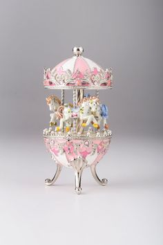 Spinning Music Playing Pink Carousel with White Royal Horses Handmade by Keren Kopal Faberge Styled Decorated with Swarovski Crystals