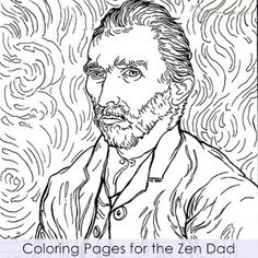 coloring page Vincent van Gogh on Kids-n-Fun. Coloring pages of Vincent van Gogh on Kids-n-Fun. More than coloring pages. At Kids-n-Fun you will always find the nicest coloring pages first! Art Van, Van Gogh Art, Paintings Famous, Van Gogh Paintings, Famous Artists, Van Gogh Tattoo, Van Gogh Portraits, Van Gogh Self Portrait, Vincent Van Gogh