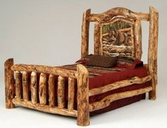 Hand-carved Burl Aspen Log Bed - Shown with Bear Carving - Item # BR04047 - Available in Queen & King - Customizable