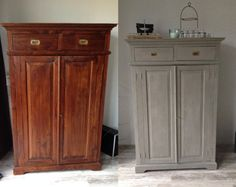 Armoire Makeover, Furniture Makeover, Home Furniture, Annie Sloan Chalk Paint French Linen, Annie Sloan Paints, Chalk Paint Furniture, Colorful Furniture, Diy Painting, Interior Design Living Room