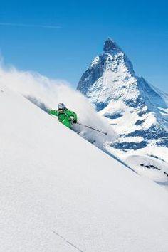 Skiing in the shadow of the Matterhorn in Zermatt, Switzerland