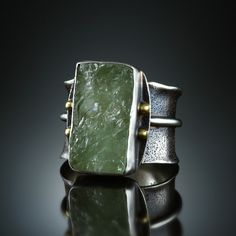 Natural Surface Beryl Ring. Fabricated Sterling Silver and 18k.