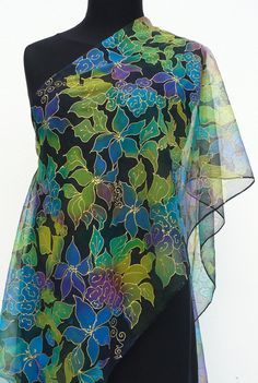 Floral chiffon scarf pure silk green blue handpainted silk shawl flowers on black Hand painted scarf  Elegant Gift for her