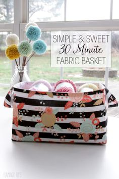 Keep your yarn, sewing tools, and precut fabric organized and handy with these Simple 30 Minute Fabric Baskets. Taking only half an hour to make, these DIY fabric baskets are quick and easy sewing projects that are perfect for keeping your sewing roo Diy Sewing Projects, Sewing Projects For Beginners, Sewing Hacks, Sewing Tutorials, Sewing Crafts, Sewing Tips, Sewing Ideas, Fabric Crafts, Bag Tutorials