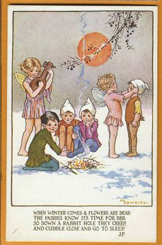Millicent SOWERBY postcard - Fairy & Pixies in Snow by Fire