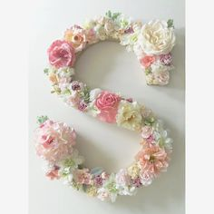 Custom floral letters for a variety of uses- spell out initials, names or a meaningful word! - F A C T S - Paper mache letter (cardboard)