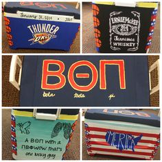 Frat cooler for beta theta pi Formal Cooler Ideas, Painted Coolers, Go Greek, Cooler Painting, Frat Coolers, Theta, Future Boyfriend, Craft Party, College