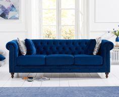 Sofa Design, Sofa Set Designs, Green Velvet Armchair, Velvet Chesterfield Sofa, Blue Velvet Sofa, Oak Furniture Superstore, Sofa Material, Sofa Colors, Three Seater Sofa