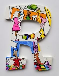 Book Letters -- Custom Hand Painted Wooden Letters -- Price per letter Painting Wooden Letters, Wood Letters, Storybook Characters, Big Letters, Hand Painted Walls, Best Baby Shower Gifts, Hand Painted Ornaments, Letter Wall, Friends In Love