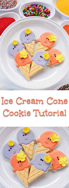 Simple Ice Cream Cone Cookies Cut Out Sugar Cookies Decorated with Royal Icing by www.thebearfootbaker.com https://cookiecutter.com/ice-cream-cone-cookie-cutter.htm