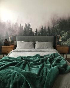 home decor bedroom Color-Blocked Furniture and a Moody Forest Mural Make This London Home Bedroom Green, Dream Bedroom, Bedroom Colors, Bedroom Inspo, Home Decor Bedroom, Bedroom Ideas, Modern Bedroom, Bedroom Makeovers, Bedroom Signs