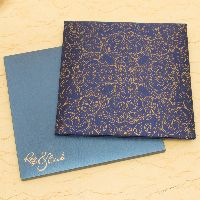 Beautiful invitation card is made from rich color satin cloth of fine quality. Card front is covered with designer imprints, and you can have religious or name of bride and groom or initials in laser cut to make it more attractive.