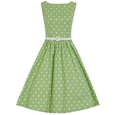 Audrey Tarragon Polka Swing Dress | Vintage Style Dresses | Lindy Bop (¥5,210) ❤ liked on Polyvore featuring dresses, green print dress, tent dress, swing dress, mixed pattern dress and trapeze dresses
