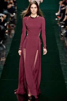 A long and sleek silhouette with screen siren appeal brings a modern take on 30s Hollywood glamour. Photo from Elie Saab fall 2014 collection.