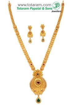 Totaram Jewelers: Buy 22 karat Gold jewelry & Diamond jewellery from India: Antique Necklace Sets Gold Chain Design, Gold Jewellery Design, Diamond Jewellery, Antique Necklace, Gold Necklace, Gold Choker, Necklace Set, Gold Haram, Gold Mangalsutra Designs